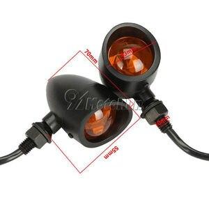 Image 4 - 4x siyah ağır motosiklet Retro dönüş sinyalleri göstergeler Blinkers kuyruk ışıkları Honda Suzuki Yamaha için Harley cruiser yeni