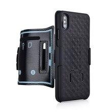 スポーツケース腕章iphone × xr xs最大11プロ7 8プラスカバー電話ホルダーアームバンドキックスタンドバックケースシェル