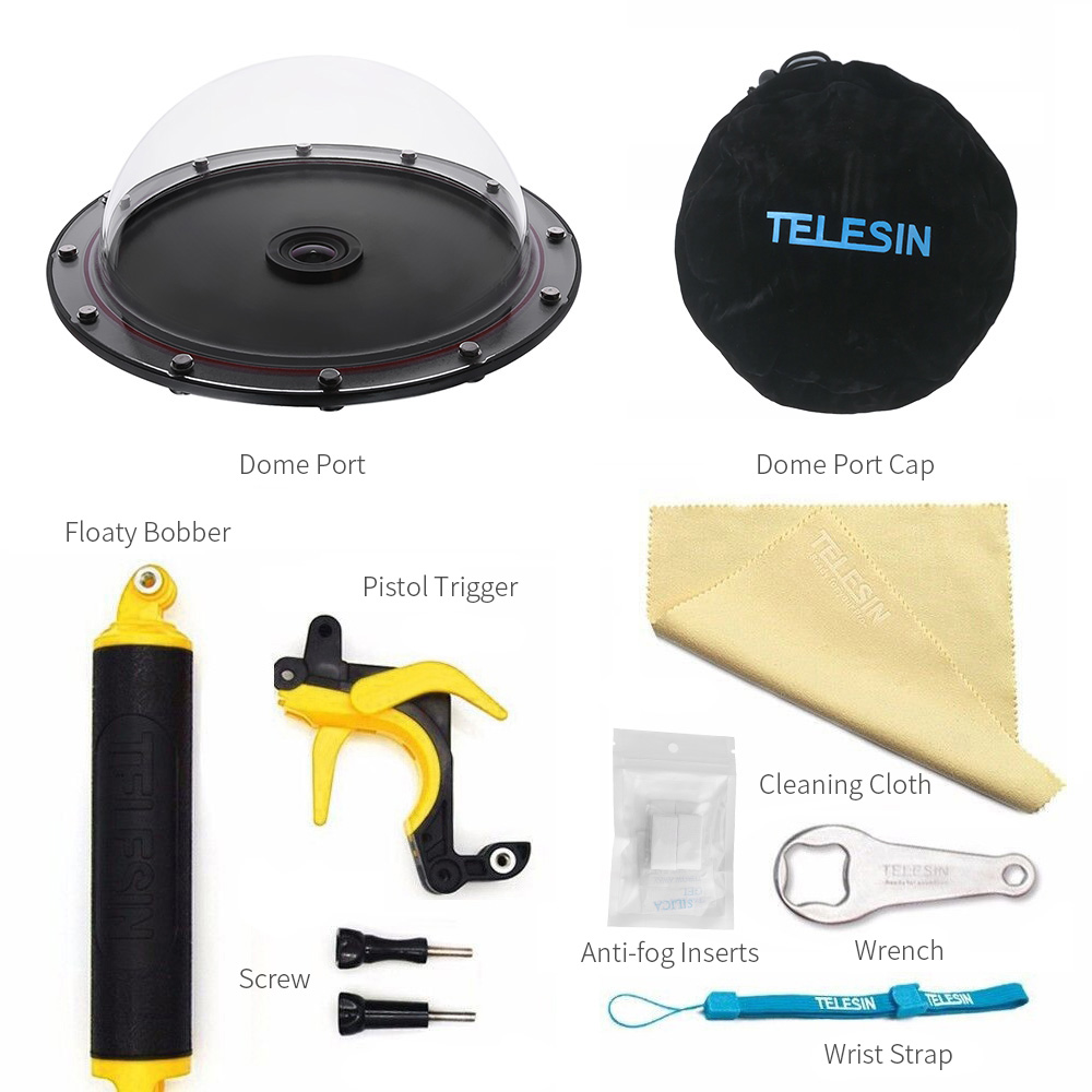 TELESIN 6 Dome Port For SJ6 SJ7 Camera Waterproof housing case Floating Bobber Trigger Dome Port