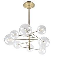 Modern pendant lights led gold AC90 261V luminaire suspendu globe clear glass shade hanging lights luminaria pendente foyer C3