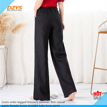 Linen wide-legged trousers summer thin casual pants female loose straight tube long pants