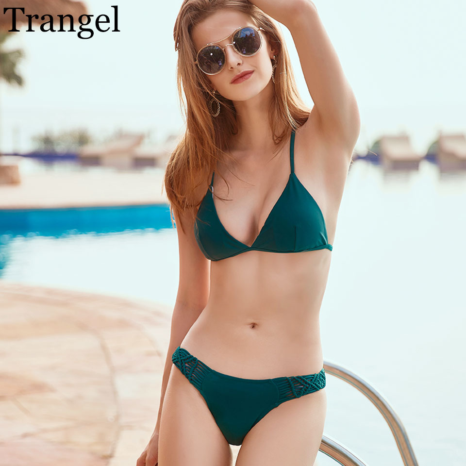 Trangel sexy bikinis 2017 solid bikini set brand swimsuits low waist swimwear female strappy swimwear women