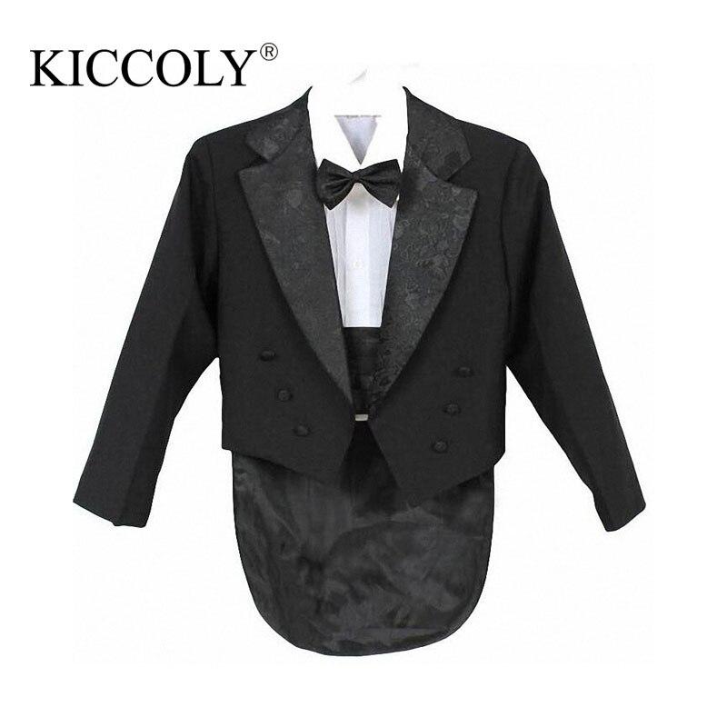 Baby Boy Clothing Set Children Tuxedo Kids Formal Wedding Suit Baby Boys Blazers Suits Five Pieces Coat+Girdle+Shirt+Tie+Pants