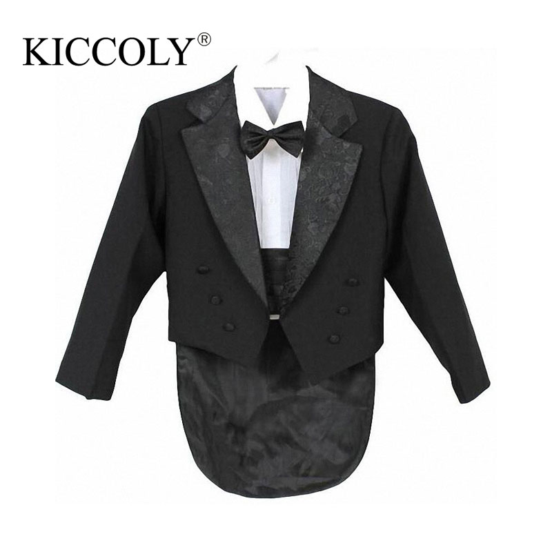Baby Boy Clothing Set Children Tuxedo Kids Formal Wedding Suit Baby Boys Blazers Suits Five Pieces Coat+Girdle+Shirt+Tie+Pants