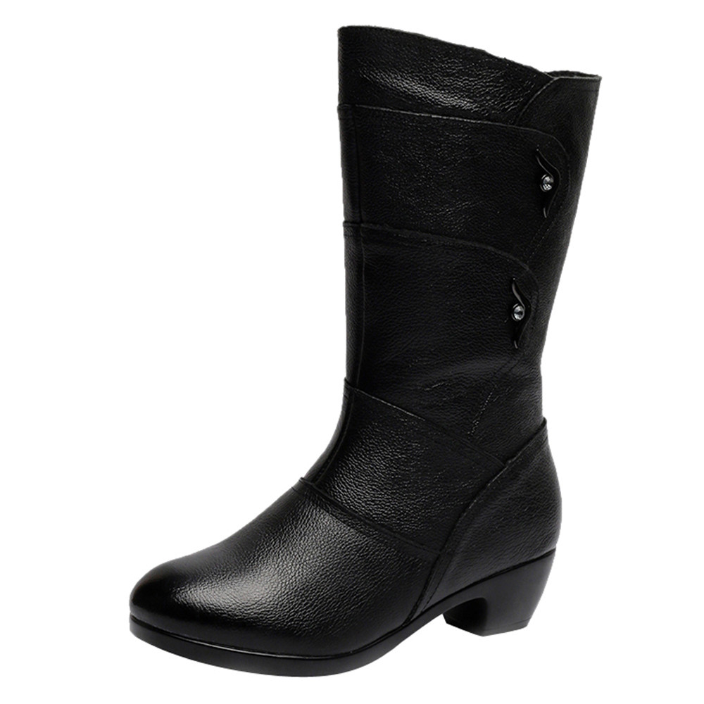Muslo Redondo Negro Caliente Cuero La Rodilla Mujer Pie Zapatos Botas Alta Invierno Suave Dedo Moda Las Del De Señoras qTwPx611H