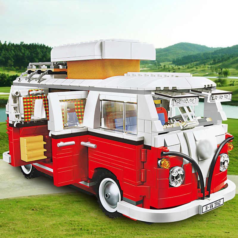 Lepinlys 21001 volkswagen t1 camper van bloco de construção criador especialista tecnologia 10220 led luz brinquedo crianças presentes