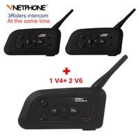 Vnetphone V4 2 Pcs V6 Motorcycle Helmet Bluetooth Intercom System BT Stereo Interphone Handsfree Headset For
