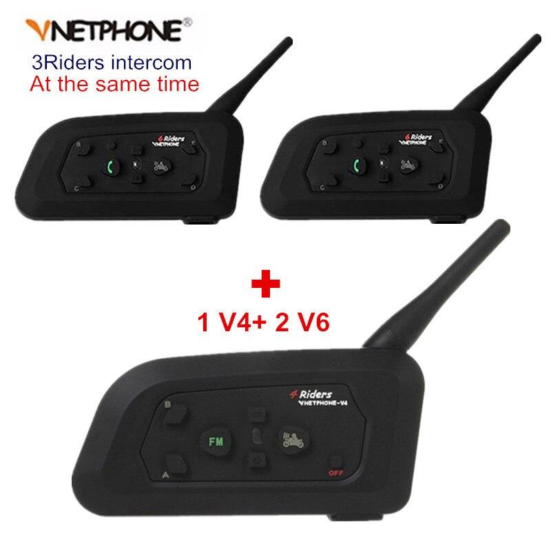 Vnetphone V4 + 2 pièces V6 casque de moto Bluetooth Interphone système BT stéréo Interphone mains libres casque pour 3 coureurs groupe Chat