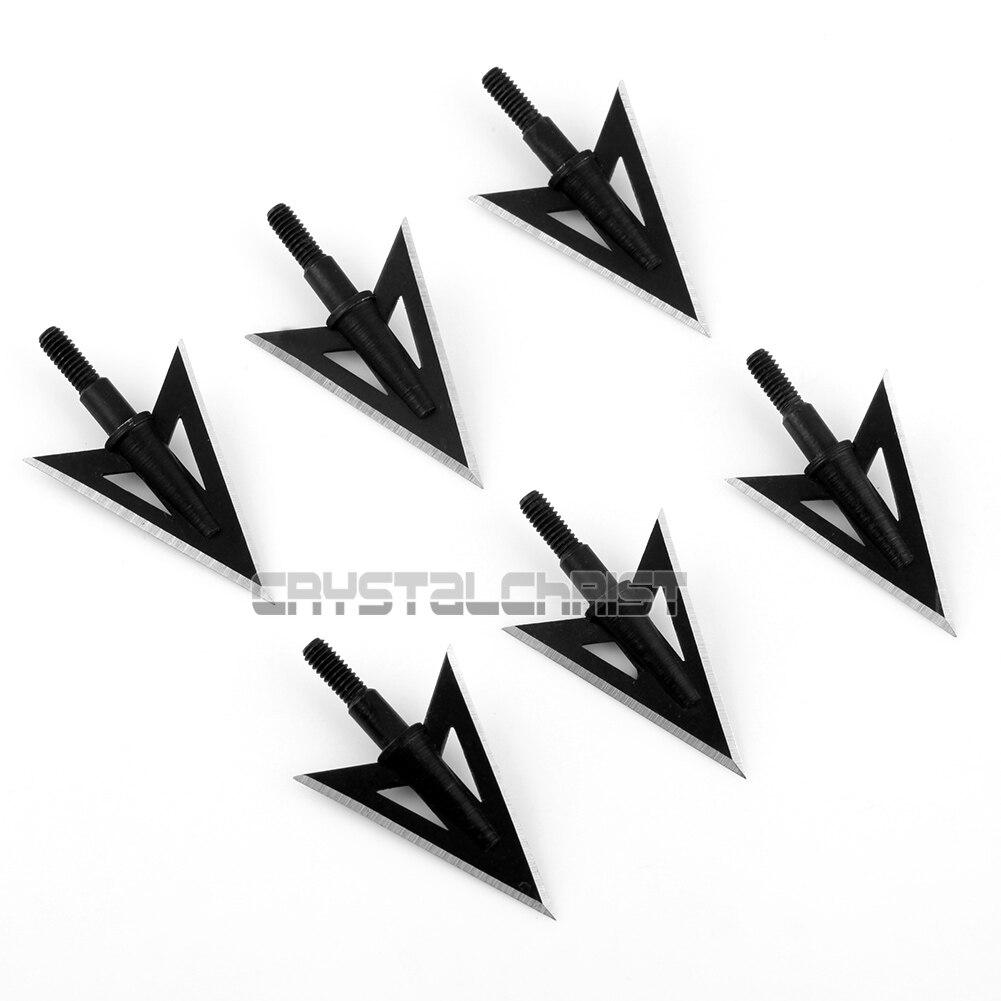 100 Grain 6pcs Metal Broadheads 2 Fixed Sharp Blade Hunting Archery Arrow Heads