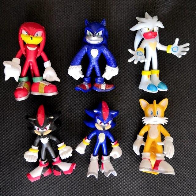 HOT 6 unids/set 12 cm sónico World Adventure Sonic Werehog colas PVC figuras de acción sombra nudillos Anime figuras de fiesta regalo