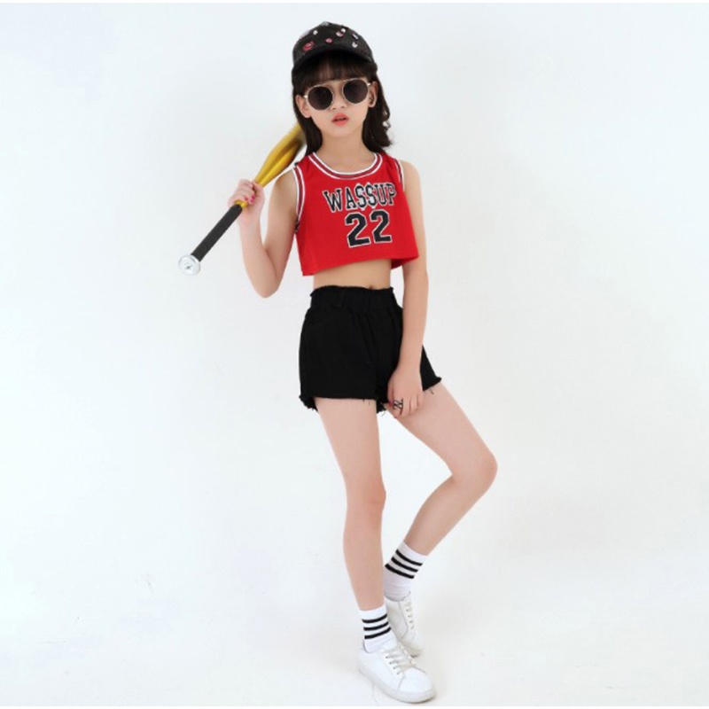 KTLPARTY Children kid girl red WASSUP hip hop costume T-shirt black white pants modern Jazz dance costume