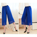 2016 spring and summer chiffon Women's Culottes  Large Free Size Loose Sand Calf-Length Pants double structure Wide leg pants