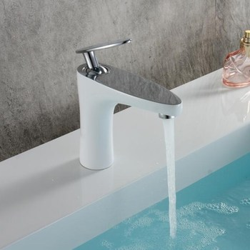 Fashion unique design white and chrome brass single lever hot and cold bathroom sink faucet basin faucet,tap