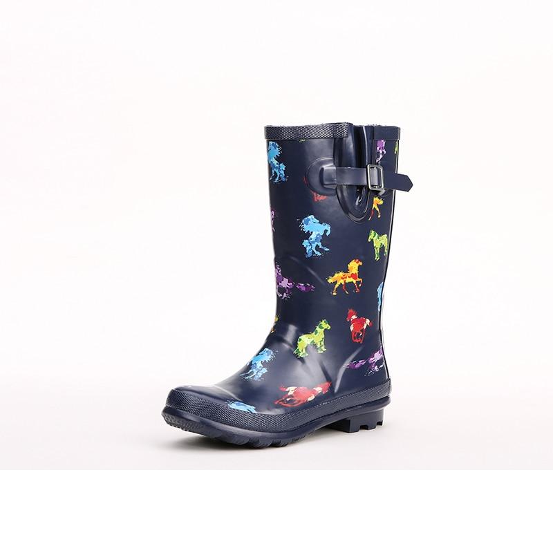 Rainboot Bottes Mode Swyivy Belle Caoutchouc Imperméable Maison Femme Hautes Imprimer Chaussures Féminine Pluie 2018 En De Bleu B4q4Cxa5w