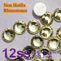 Free Shipping Nail Art Rhinestone Jonquil Color SS12(3.0-3.2mm) 1440pcs/pack Non Hotfix Flatback Crystal Stones