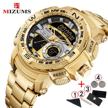 Relogio Masculino 2019 złoty zegarek mężczyźni luksusowej marki złoty wojskowy zegarek męski wodoodporna stal nierdzewna cyfrowy zegarek 2019 tanie i dobre opinie MIZUMS 230cm Moda casual QUARTZ 3Bar Klamra STAINLESS STEEL 16mm Hardlex Kwarcowe Zegarki Na Rękę Nie pakiet 44mm Relogio Masculino M8007