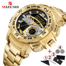Relogio Masculino 2019 złoty zegarek mężczyźni luksusowej marki złoty wojskowy zegarek męski wodoodporna stal nierdzewna cyfrowy zegarek 2019