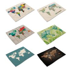 Map of World Patterns Placemat Printing Cotton Linen Placemat Inventory clearance Random Style
