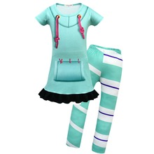 Girls Vanellope Von Schweetz Costume cospaly kids Pajamas Dress with Striped Leggings Set Children home wear sleepwear nightgown недорого