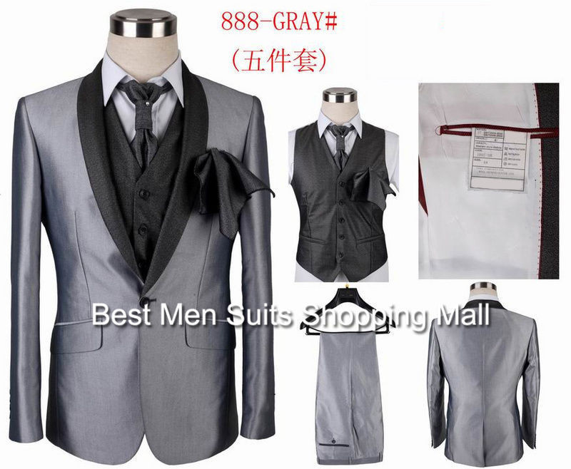 ALL fashion mens 5 in 1 wedding tuxedos Slim Fit party dress suits ...