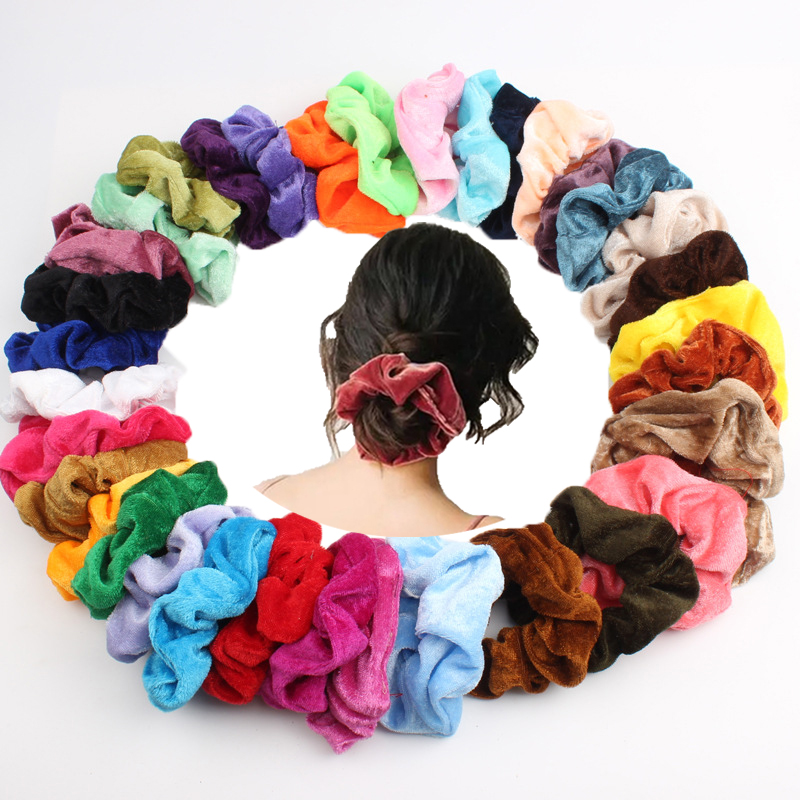 36 Colors Solid Velvet Hair Ties For Woman Soft Scrunchies Girls Ponytail Holders Hairband Charming Hair Rope Gum Headwear
