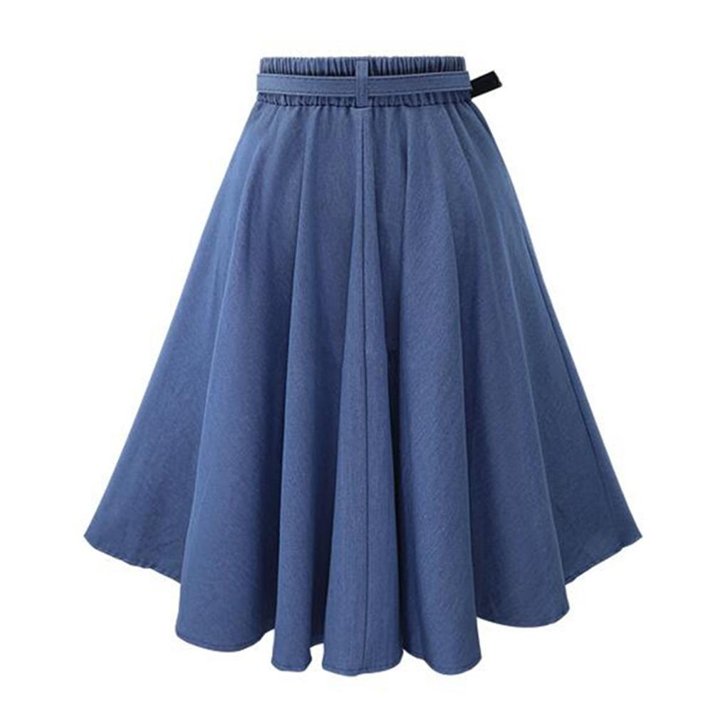 2018 Summer Jeans Skirt Women High Waist Jupe Denim Skirts Female Knee-Length Saia Washed Faldas Casual Ball Gown Skirt