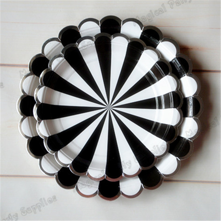 40pcs Large Black Striped Paper Plates Black and White Stripe with Silver Scallop Tableware Cups Napkins Wedding Party Supplies-in Disposable Party ... : black and white striped paper plates - Pezcame.Com