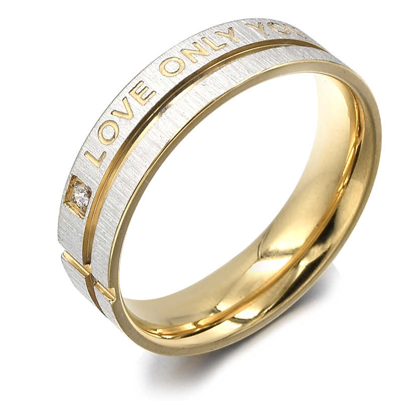 "ATGO แฟชั่นเครื่องประดับ 316L สแตนเลสวงกลม ""Love Only You"" แหวนคู่, แหวน, หมั้นแหวน BR003"