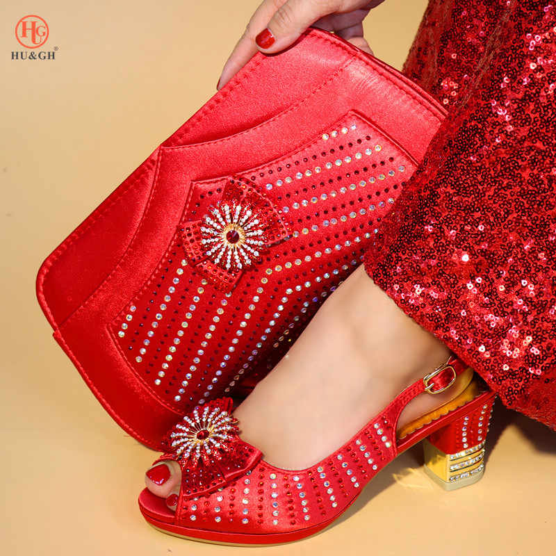 d745ca2516 2018 Charming Italian Shoes With Matching Bags Rhinestones Red Color High  Quality African Shoes And Bags Set for Wedding Party