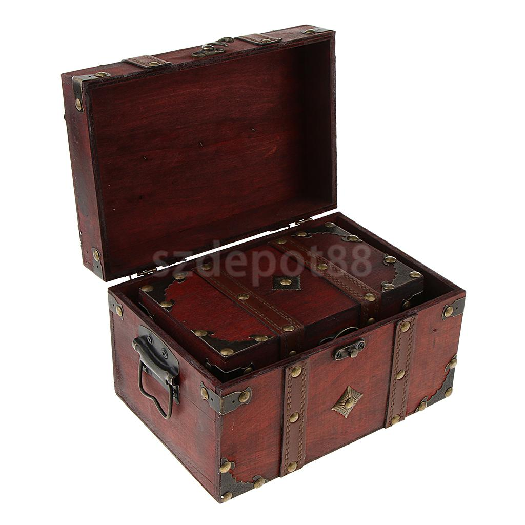 2 Pieces Small Large Jewelry Storage Treasure Chest Handmade Wooden Case Lock 2 in 1 Vintage Red Woode Box