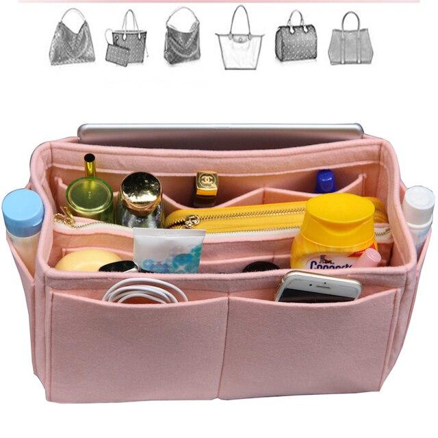 Felt Organizer Bag in Bag(with Detachable Middle Zipper Bag)Wool Purse  Insert Customized Tote Organize Cosmetic Diaper Handbag 1c8f07429b1f