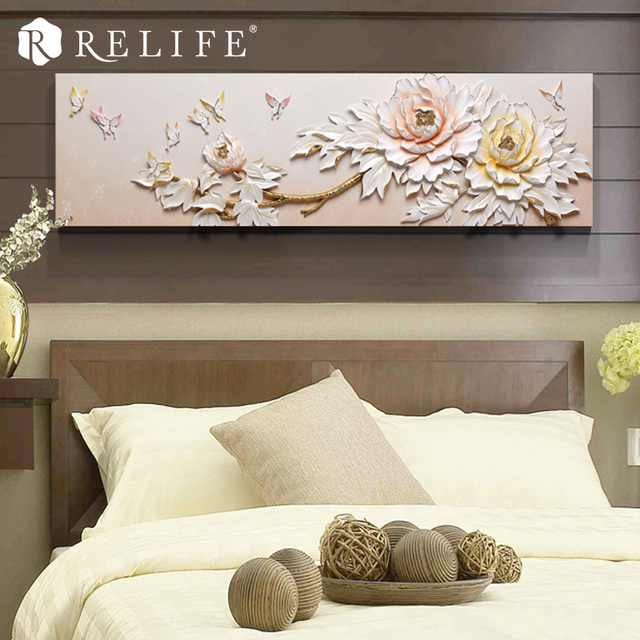 Vintage Peony with Resin Butterfly Wall Painting Handmade Home Decor Art Pictures
