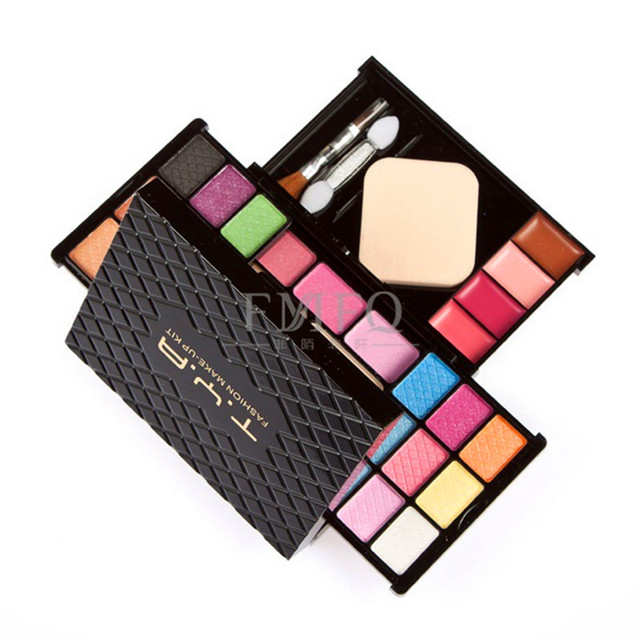 18 colores de sombra de ojos brillo labial rubor en polvo cepillo de contorno facial maquillaje paleta combo con mirror soplo cosmético de salud