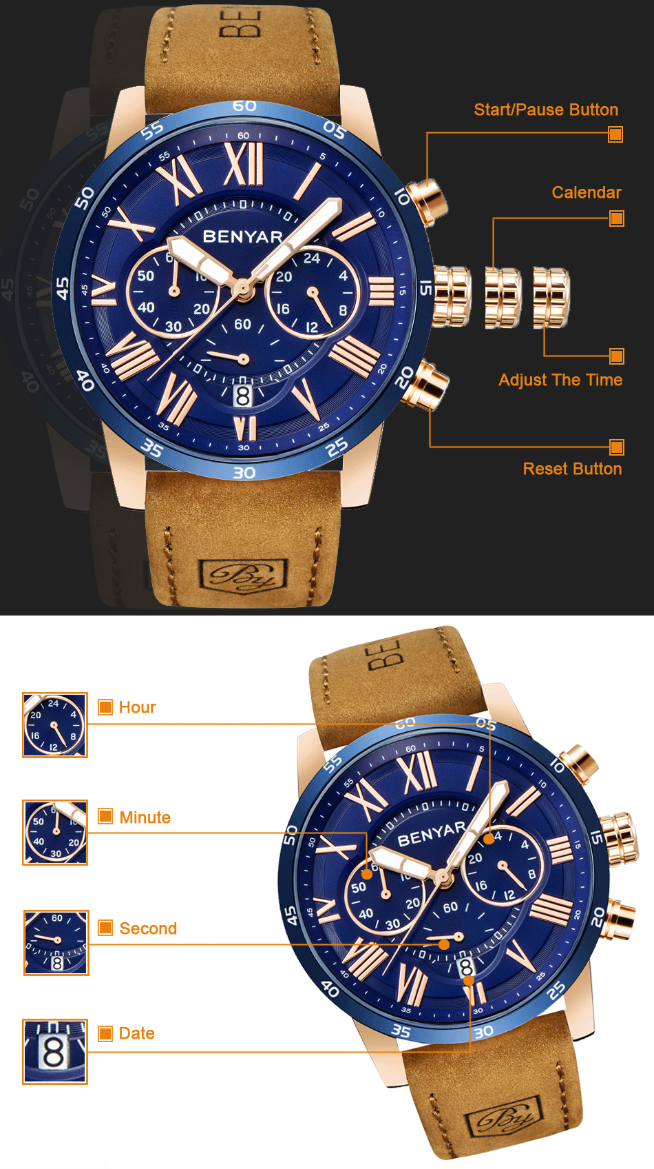 HTB1yZoQRrPpK1RjSZFFq6y5PpXaB 2019 Top Luxury Brand BENYAR Fashion Blue Watches Men Quartz Watch Male Chronograph Leather WristWatch Relogio Masculino
