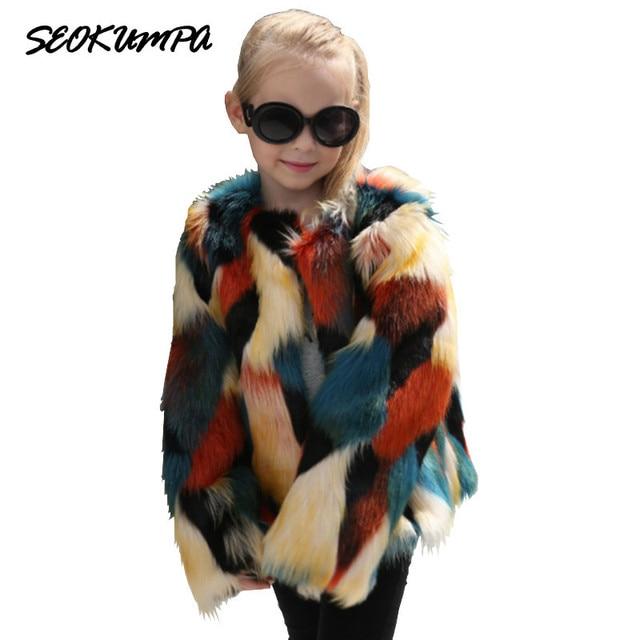 fcd4d88f7ef6 Stylish Contrast Color Girls Long Shaggy Faux Fur Coat 2017 Winter Girl  O-Neck Luxury Fur Jackets Mid Long Outerwear