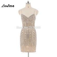 robe de soiree Golden Prom Dresses Short Evening Party Dress Spaghetti Strap Short Gown vestido de festa Form Gown Custom Made