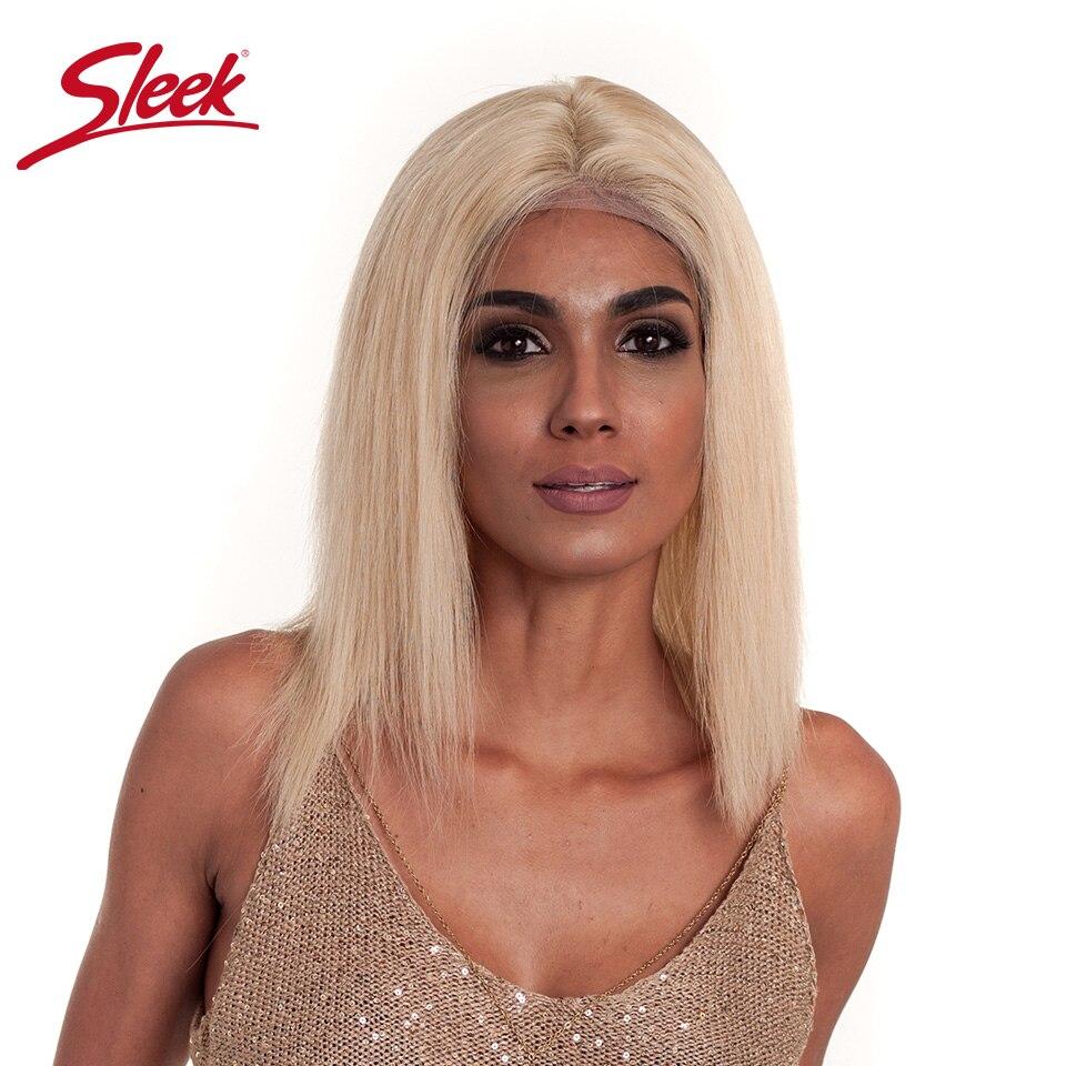 Sleek волос 613 Блондин Короткие Боб полный шнурок человеческих волос парики 130% плотность Реми парик с ребенком волос