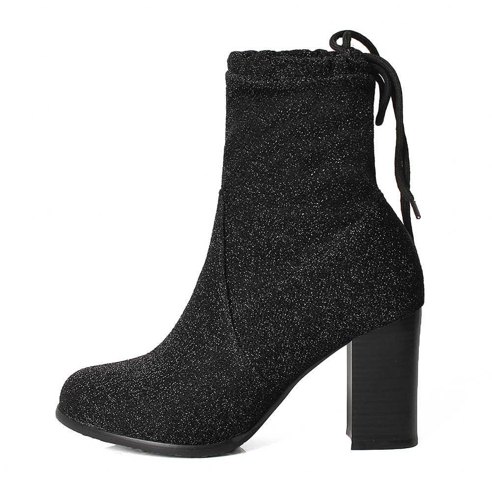 DoraTasia ยี่ห้อใหม่ Plus ขนาด 34-48 Elegant Lace Up รองเท้าผู้หญิงรองเท้ารองเท้าส้นสูง Chunky Whoelsale ข้อเท้ารองเท้าผู้หญิง