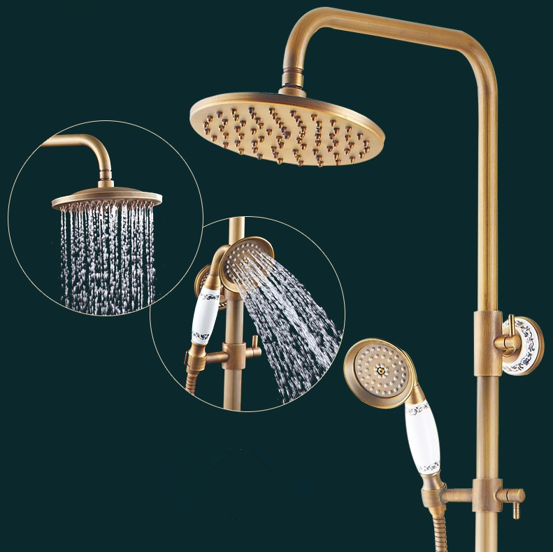 2016 Luxury Antique Copper Shower Faucet Set / Ceramic Decoration /Wall Mounted Bathroom Bathtub Faucet+Handheld Shower wall mounted waterfall shower faucet glass set copper bathtub faucet shower chrome bathroom handheld shower head faucet mixer