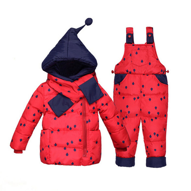 0-2years Russian Down Coat Newborn Baby Girls Clothes Winter Warm Christmas Cosume Eiderdown Pants Red Clothing Set With Scarf