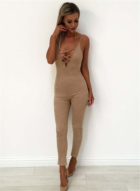 d6e39c1e41f Sexy Women Deep V-neck Lace-up Spaghetti Strap Halter Clubwear Summer  Playsuit Bodycon Party Jumpsuit Romper Trousers Long Pants