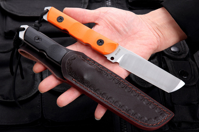 Free shipping The sharp Outdoor  defense 60HRC height hardness D2 steel hunting knife G10 handle