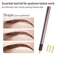 Manual Permanent Makeup Embroidered Eyebrow Tattoo Pen with 4 Blades MicrobladingStainless Steel Material Lock-Pin Device
