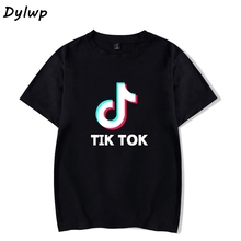 Tik Tok T shirt Women Short-Sleeved Round Neck T-shirt 2019 Summer Ladies Casual Cartoon Print Loose Tops Plus Size XXS-4XL