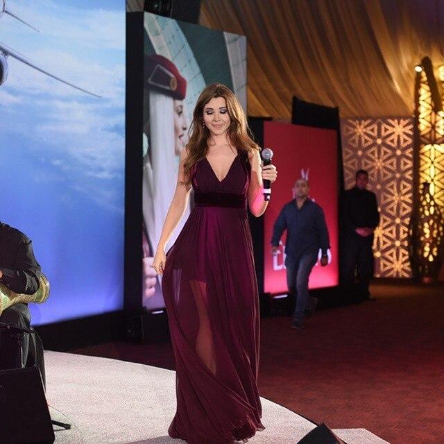 6e0f7abdf9 Cheap Purple Chiffon Prom Party Dress to Floor Woman Dress Evening Gown  Nancy Ajram Celebrity Dresses
