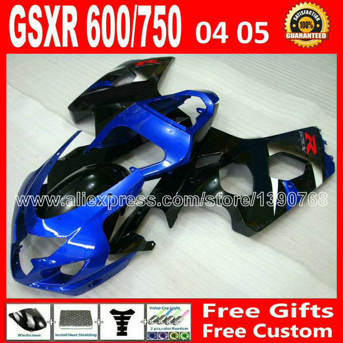 Brand new for 2004 2005 SUZUKI glossy black blue GSXR 600 750 fairing kit K4  gsxr600 TVH GSX 04 05 R750 moyorcycle 674 lowest price fairing kit for suzuki gsxr 600 750 k4 2004 2005 blue black fairings set gsxr600 gsxr750 04 05 eg12