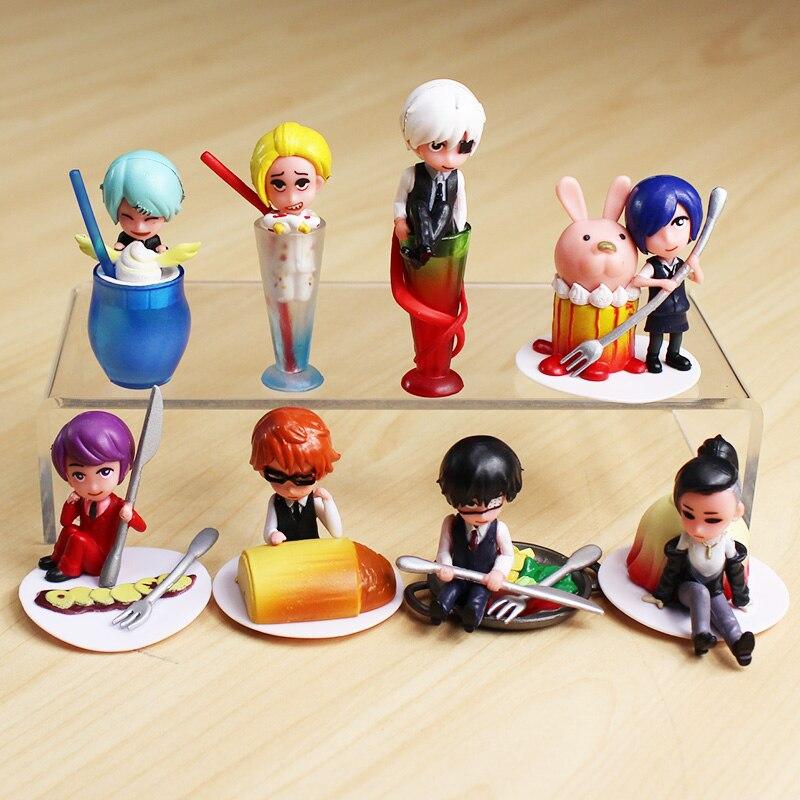 8Pcs/Set Anime Tokyo Ghoul Figure Kaneki Ken Touka Kirishima Shuu Tsukiyama Figure Toy PVC Dolls 4~7cm цена 2016