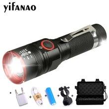6000 Lumens USB Rechargeable LED Flashlight T6 18650 Torch Lamp Lantern Power Reminder Waterproof LED Bike Flash Light Aluminum недорого