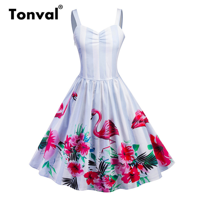 4f5c91f30f0 Tonval Red Flower Print Flamingo Pleated Dress Women Vintage Striped White  Dresses Elegant Party Summer Dress