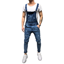 Casual Men Jeans Denim Bib Pants Solid Hole Slim Pencil  Mid Waist Overalls Zipper Fly S-XL New D40